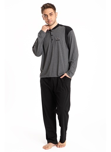 Pemilo Erkek 746 Cepli Uzun Kol Yazlık Pijama Takımı SİYAH Füme
